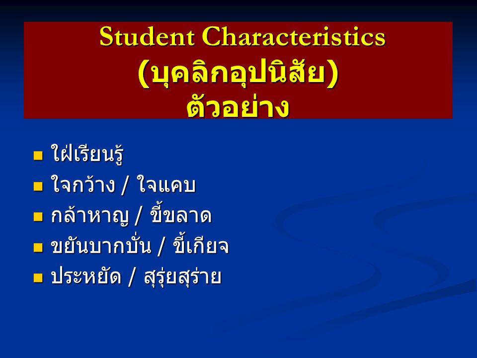 Student Characteristics ( บุคลิกอุปนิสัย ) ความหมาย Student Characteristics ( บุคลิกอุปนิสัย ) ความหมาย ลักษณะบุคลิกของนิสิตที่แสดงออกมา เป็นประจำ / สม่ำเสมอ ลักษณะบุคลิกของนิสิตที่แสดงออกมา เป็นประจำ / สม่ำเสมอ สะท้อนให้เห็นถึงลักษณะ ธรรมชาติ หรือ ความเป็นตัวตนของนิสิตคนนั้น * นิสิตอาจจะรู้ตัวหรือไม่รู้ตัวก็ได้ * อาจจะมีทั้งส่วนที่ดีและไม่ดีก็ได้ สะท้อนให้เห็นถึงลักษณะ ธรรมชาติ หรือ ความเป็นตัวตนของนิสิตคนนั้น * นิสิตอาจจะรู้ตัวหรือไม่รู้ตัวก็ได้ * อาจจะมีทั้งส่วนที่ดีและไม่ดีก็ได้