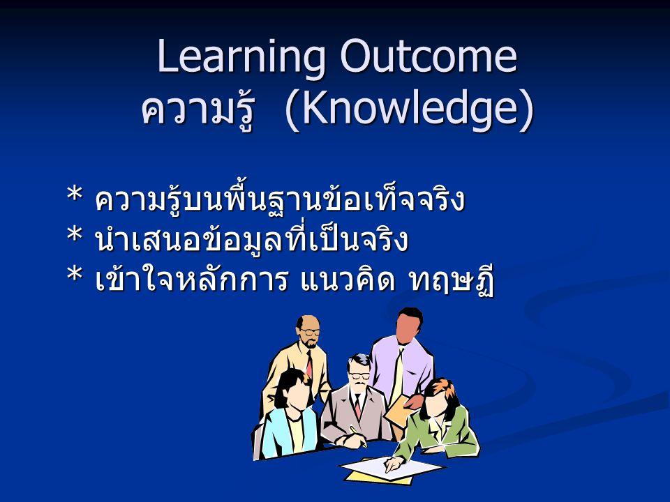 Learning Outcome คุณธรรม จริยธรรม (Ethical and Moral Development) การพัฒนาลักษณะนิสัย * ประพฤติดี * มีความรับผิดชอบต่อตนเองและส่วนรวม * ปรับวิถีชีวิตได้อย่างเหมาะสมท่ามกลาง ความขัดแย้งทางค่านิยม * มีหลักคิดเชิงคุณธรรม ( ทั้งส่วนตัวและสังคม ) การพัฒนาลักษณะนิสัย * ประพฤติดี * มีความรับผิดชอบต่อตนเองและส่วนรวม * ปรับวิถีชีวิตได้อย่างเหมาะสมท่ามกลาง ความขัดแย้งทางค่านิยม * มีหลักคิดเชิงคุณธรรม ( ทั้งส่วนตัวและสังคม )