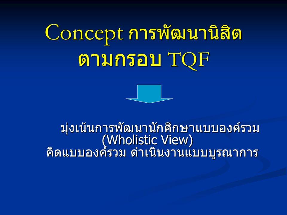 Concept การพัฒนานิสิต ตามกรอบ TQF จปฐ.
