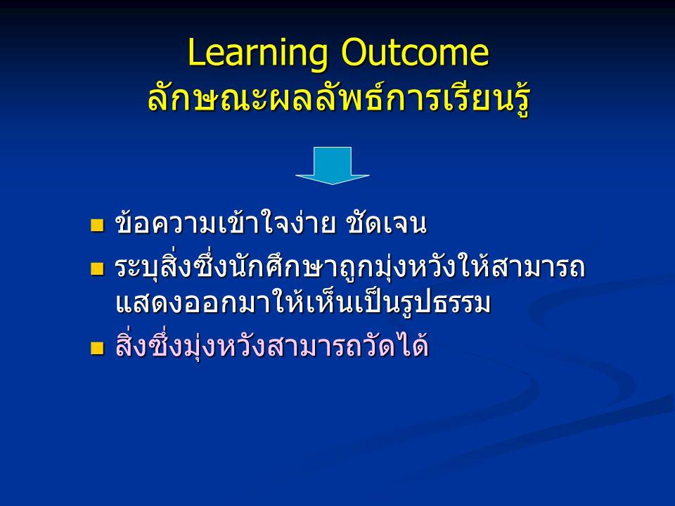 Learning Outcome คือ อะไร ข้อความ / ประเด็นความมุ่งหวัง - มุ่งพรรณนาผลที่จะเกิดขึ้นแก่ผู้เรียน - มุ่งเน้นสัมฤทธิผลที่จะเกิดขึ้นแก่ผู้เรียน ข้อความ / ประเด็นความมุ่งหวัง - มุ่งพรรณนาผลที่จะเกิดขึ้นแก่ผู้เรียน - มุ่งเน้นสัมฤทธิผลที่จะเกิดขึ้นแก่ผู้เรียน