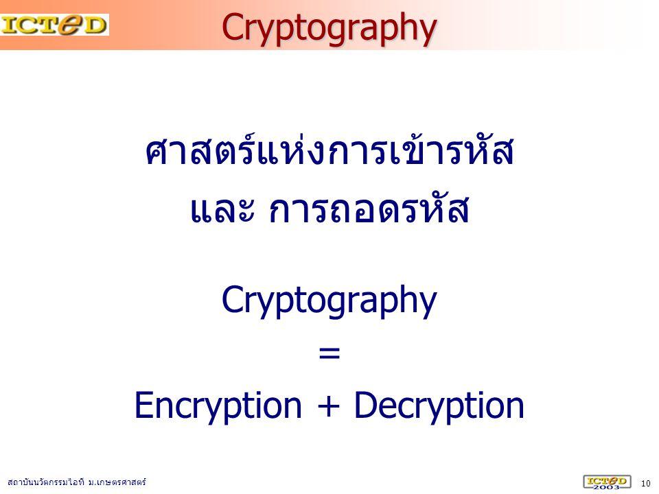 10 สถาบันนวัตกรรมไอที ม. เกษตรศาสตร์ Cryptography ศาสตร์แห่งการเข้ารหัส และ การถอดรหัส Cryptography = Encryption + Decryption