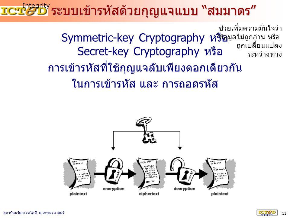 """11 สถาบันนวัตกรรมไอที ม. เกษตรศาสตร์ ระบบเข้ารหัสด้วยกุญแจแบบ """"สมมาตร"""" Symmetric-key Cryptography หรือ Secret-key Cryptography หรือ การเข้ารหัสที่ใช้ก"""