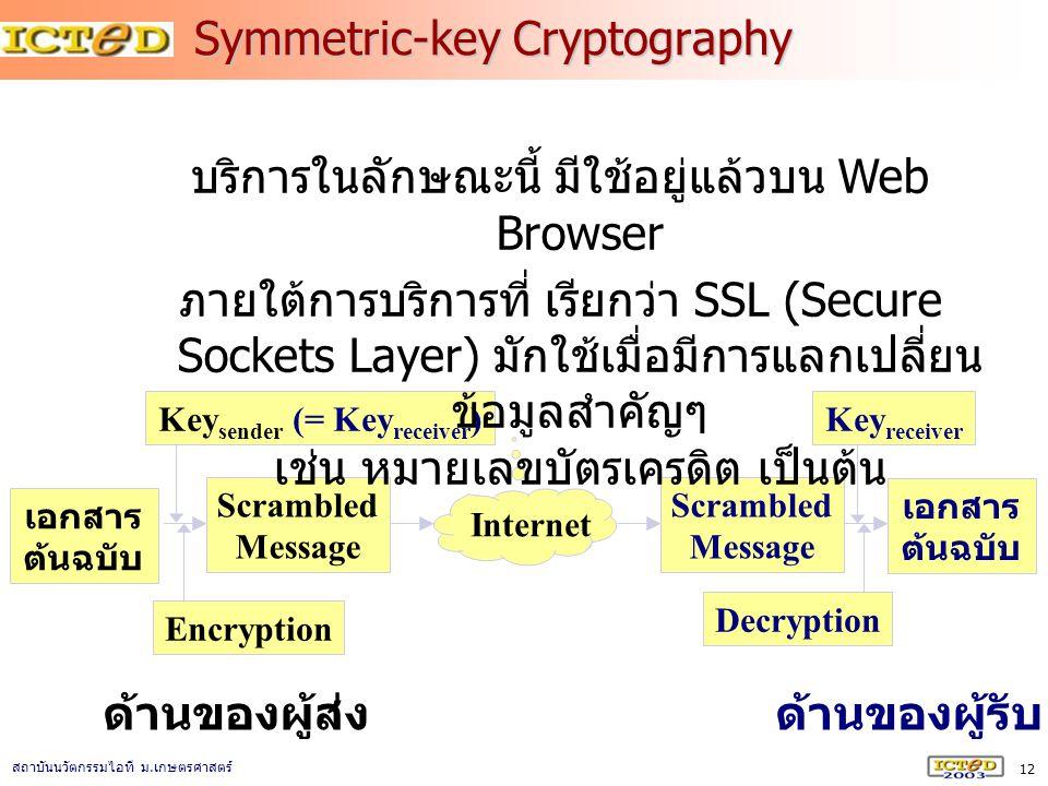 12 สถาบันนวัตกรรมไอที ม. เกษตรศาสตร์ Symmetric-key Cryptography Scrambled Message เอกสาร ต้นฉบับ Internet Scrambled Message Key sender (= Key receiver