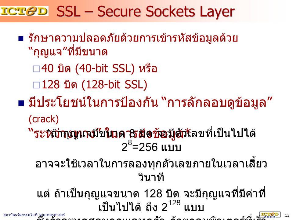 """13 สถาบันนวัตกรรมไอที ม. เกษตรศาสตร์ SSL – Secure Sockets Layer รักษาความปลอดภัยด้วยการเข้ารหัสข้อมูลด้วย """" กุญแจ """" ที่มีขนาด  40 บิต (40-bit SSL) หร"""