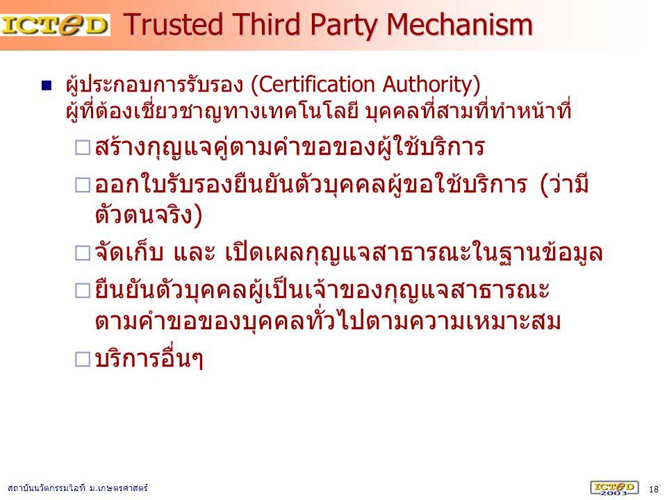 18 สถาบันนวัตกรรมไอที ม. เกษตรศาสตร์ Trusted Third Party Mechanism ผู้ประกอบการรับรอง (Certification Authority) ผู้ที่ต้องเชี่ยวชาญทางเทคโนโลยี บุคคลท