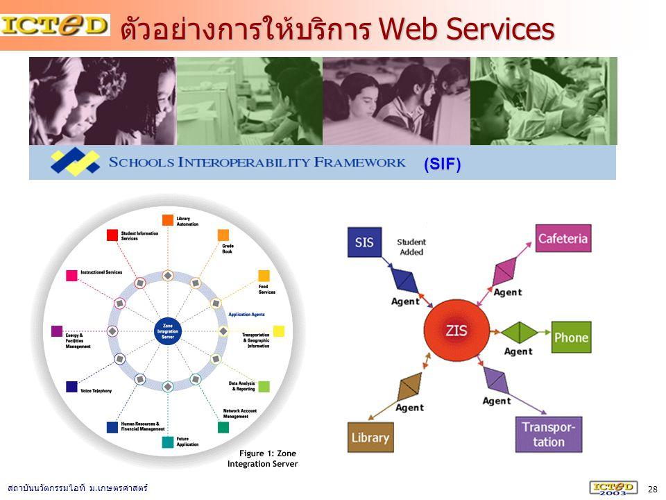 28 สถาบันนวัตกรรมไอที ม. เกษตรศาสตร์ ตัวอย่างการให้บริการ Web Services (SIF)