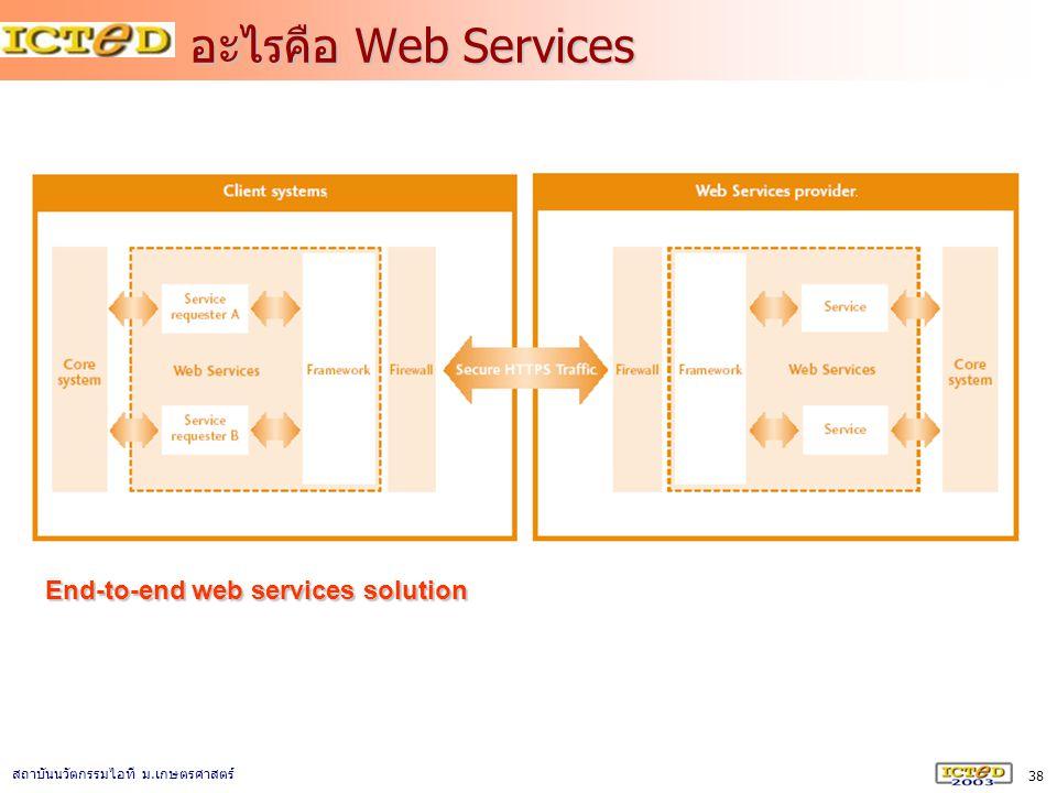 38 สถาบันนวัตกรรมไอที ม. เกษตรศาสตร์ อะไรคือ Web Services End-to-end web services solution