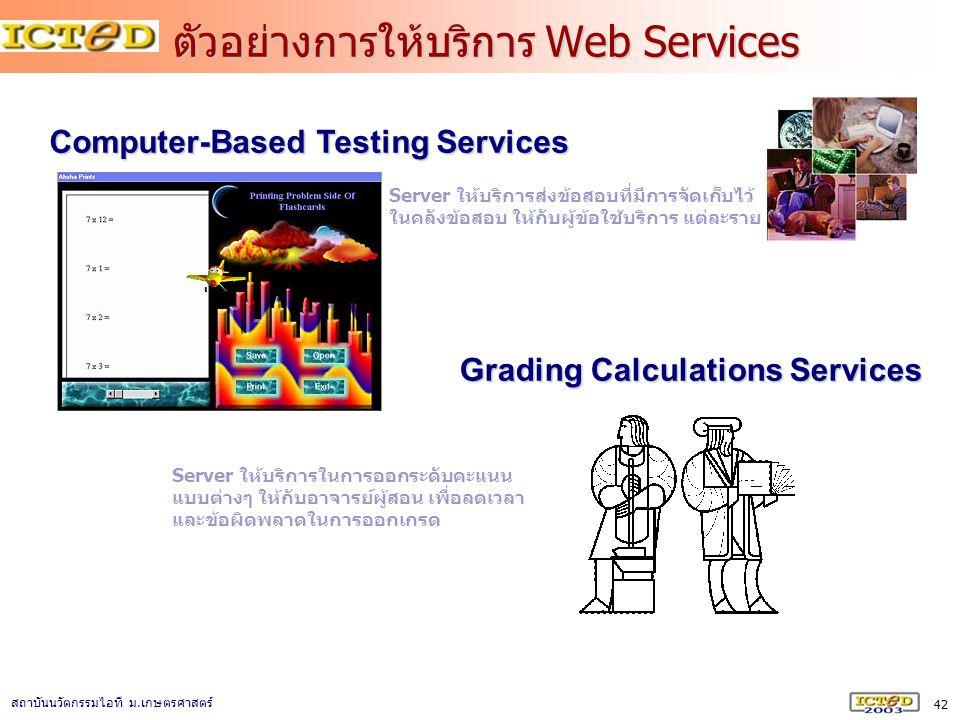 42 สถาบันนวัตกรรมไอที ม. เกษตรศาสตร์ ตัวอย่างการให้บริการ Web Services Computer-Based Testing Services Grading Calculations Services Server ให้บริการส