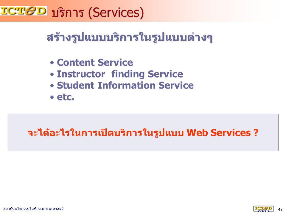 48 สถาบันนวัตกรรมไอที ม. เกษตรศาสตร์ บริการ (Services) สร้างรูปแบบบริการในรูปแบบต่างๆ Content Service Instructor finding Service Student Information S