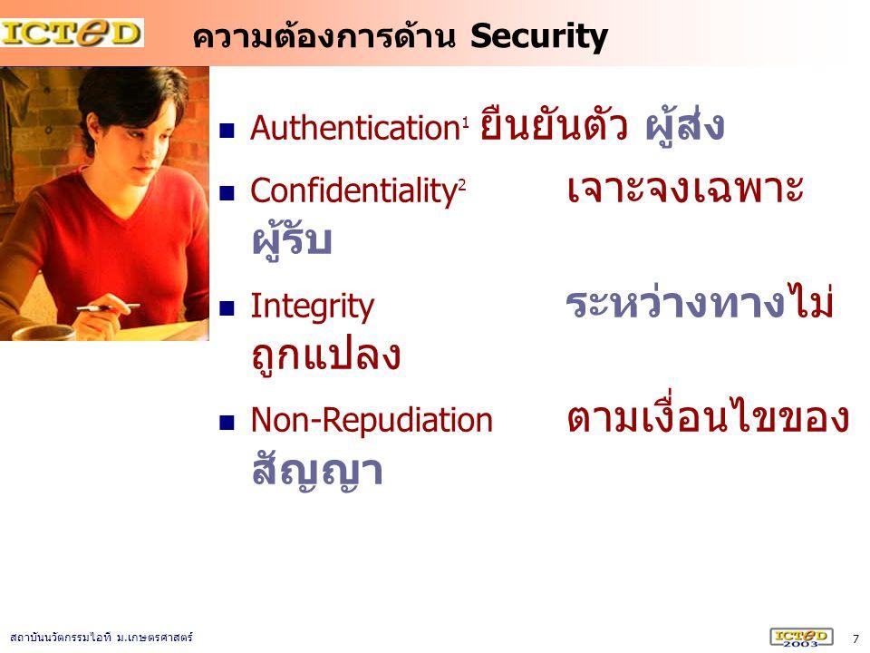 7 สถาบันนวัตกรรมไอที ม. เกษตรศาสตร์ ความต้องการด้าน Security Authentication 1 ยืนยันตัว ผู้ส่ง Confidentiality 2 เจาะจงเฉพาะ ผู้รับ Integrity ระหว่างท