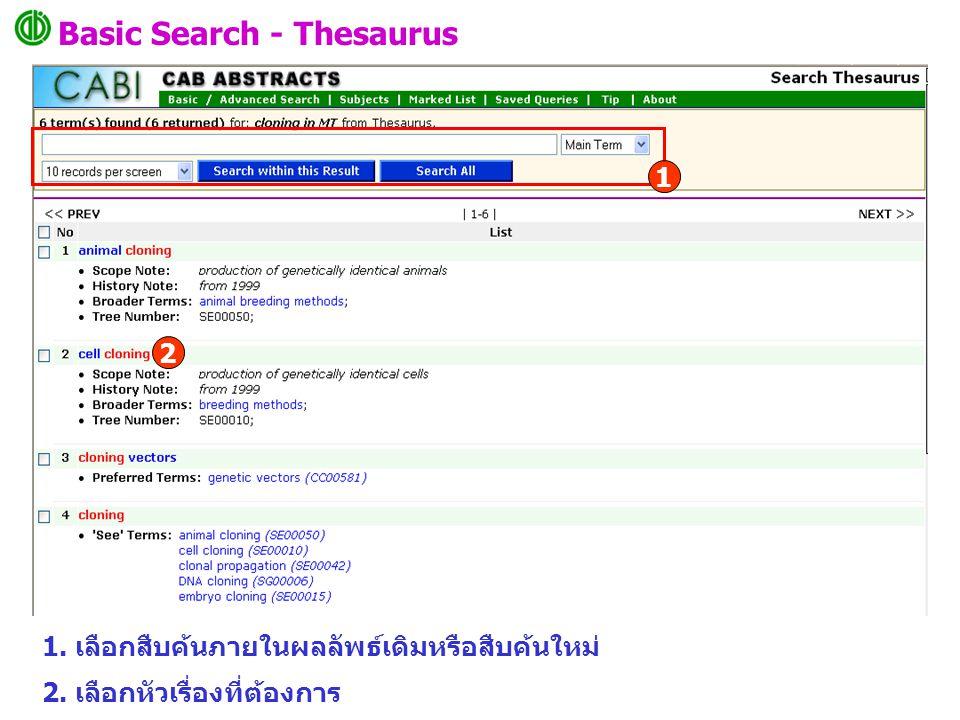 Basic Search - Thesaurus 1. เลือกสืบค้นภายในผลลัพธ์เดิมหรือสืบค้นใหม่ 2.