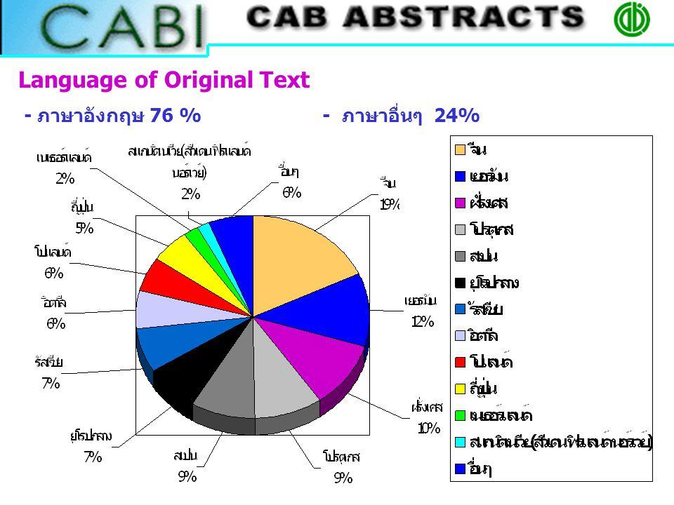 Language of Original Text - ภาษาอังกฤษ 76 % - ภาษาอื่นๆ 24%