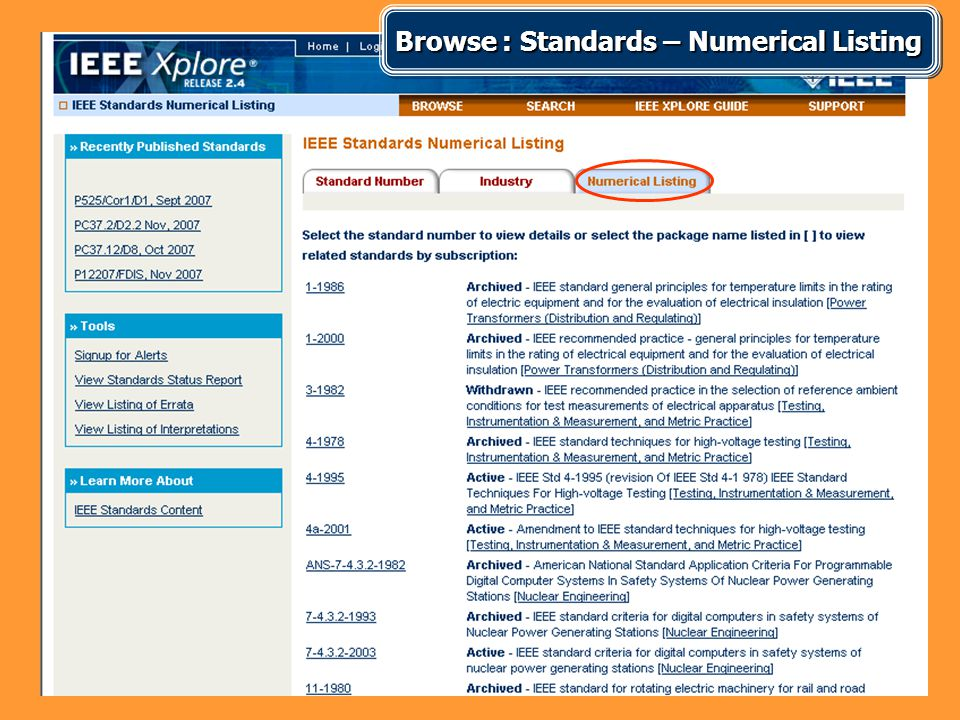 Browse : Standards – Numerical Listing