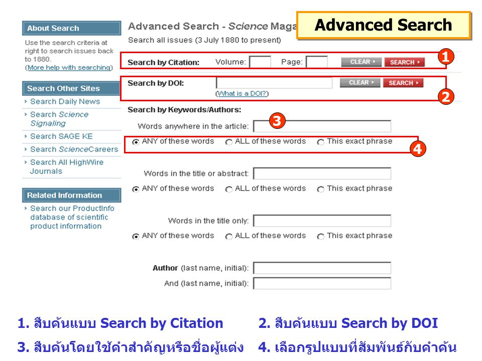 Advanced Search 1. สืบค้นแบบ Search by Citation2.