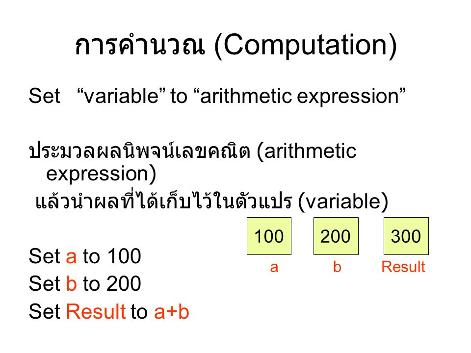 """การคำนวณ (Computation) Set """"variable"""" to """"arithmetic expression"""" ประมวลผลนิพจน์เลขคณิต (arithmetic expression) แล้วนำผลที่ได้เก็บไว้ในตัวแปร (variable"""