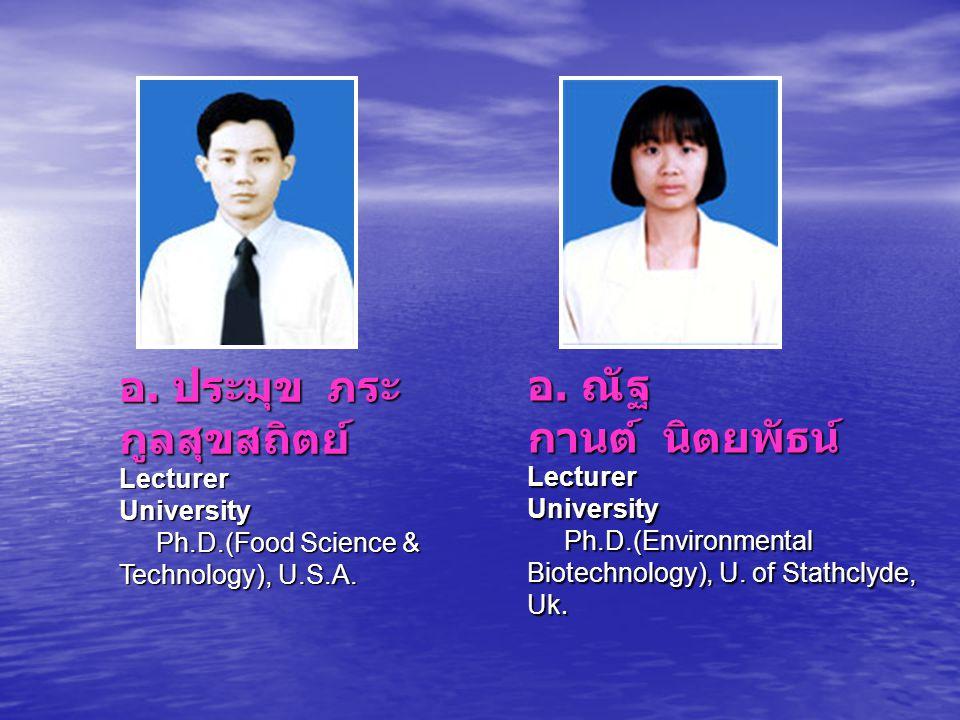 อ. ประมุข ภระ กูลสุขสถิตย์ Lecturer University Ph.D.(Food Science & Technology), U.S.A. อ. ประมุข ภระ กูลสุขสถิตย์ Lecturer University Ph.D.(Food Scie