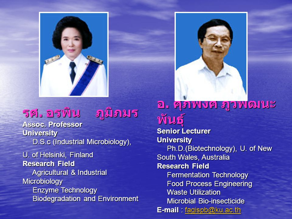 รศ. อรพิน ภูมิภมร Assoc. Professor University D.S.c (Industrial Microbiology), U. of Helsinki, Finland Research Field Agricultural & Industrial Microb