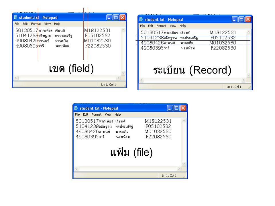 เขต (field) ระเบียน (Record) แฟ้ม (file)
