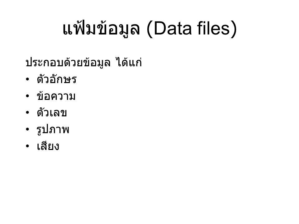 แฟ้มข้อมูล (Data files) ประกอบด้วยข้อมูล ได้แก่ ตัวอักษร ข้อความ ตัวเลข รูปภาพ เสียง