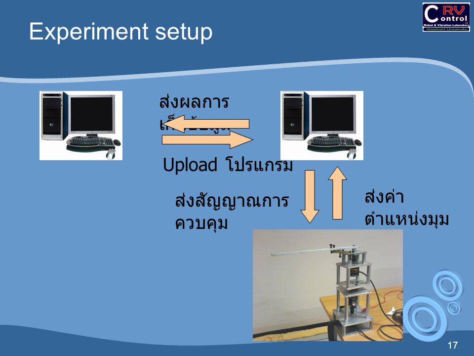 17 Experiment setup Upload โปรแกรม ส่งผลการ เก็บข้อมูล ส่งสัญญาณการ ควบคุม ส่งค่า ตำแหน่งมุม