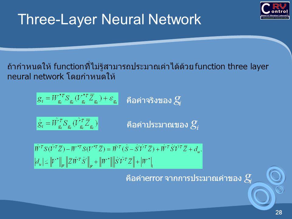 28 Three-Layer Neural Network ถ้ากำหนดให้  functionที่ไม่รู้สามารถประมาณค่าได้ด้วย  function three layer neural network  โดยกำหนดให้ คือค่าจริงของ