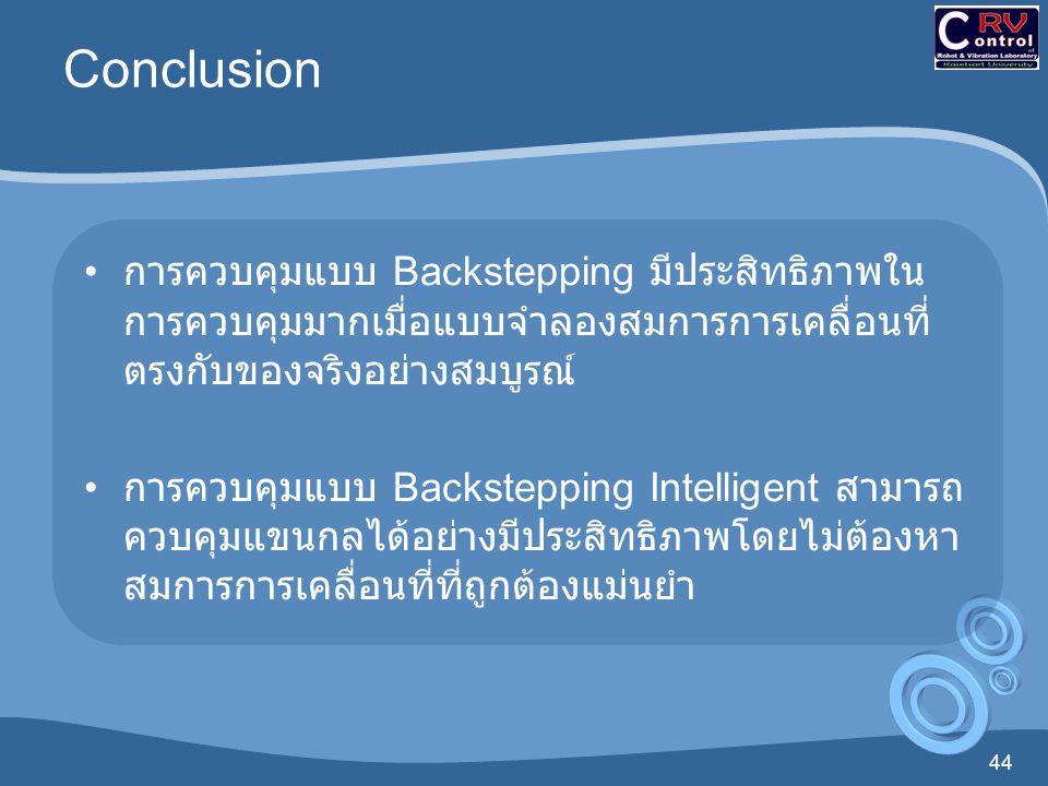 44 Conclusion การควบคุมแบบ Backstepping มีประสิทธิภาพใน การควบคุมมากเมื่อแบบจำลองสมการการเคลื่อนที่ ตรงกับของจริงอย่างสมบูรณ์ การควบคุมแบบ Backsteppin