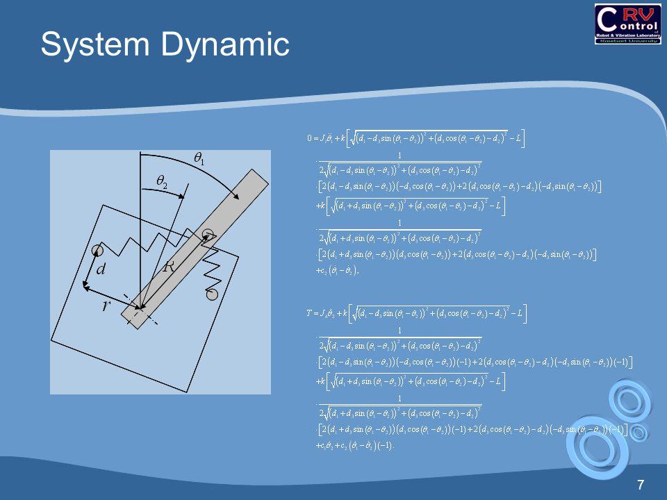 8 โมเมนต์รอบจุดหมุนของแขนกล ทำ linearize ที่มุม θ = 0