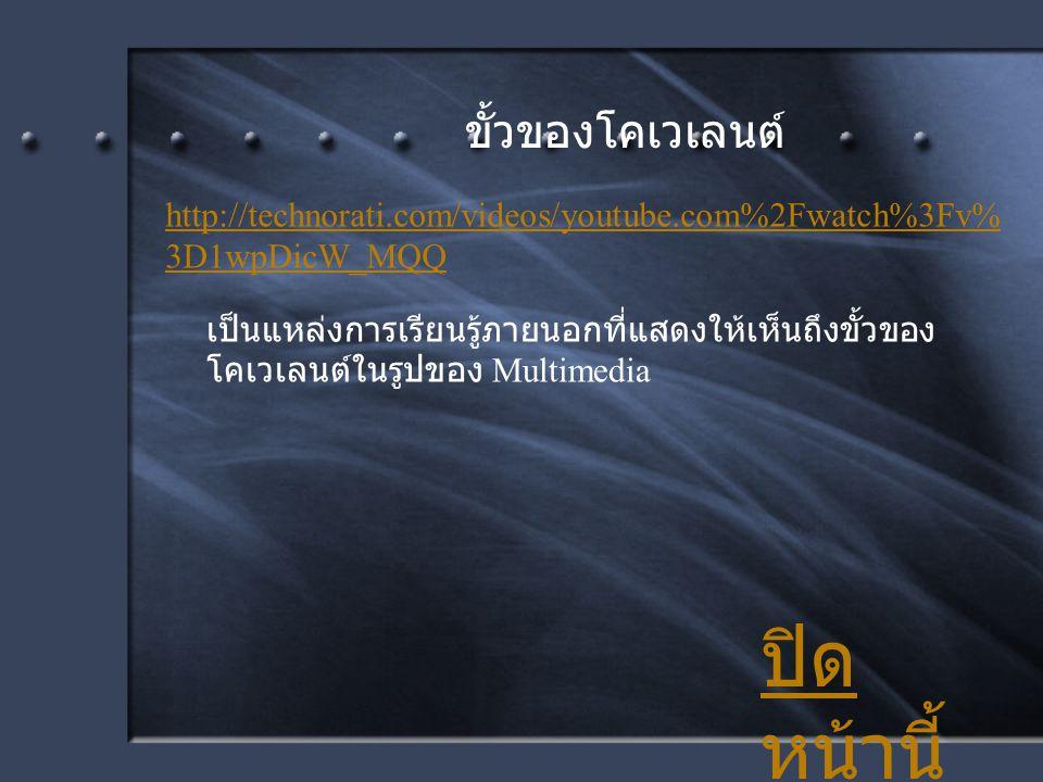 ปิด หน้านี้ ขั้วของโคเวเลนต์ เป็นแหล่งการเรียนรู้ภายนอกที่แสดงให้เห็นถึงขั้วของ โคเวเลนต์ในรูปของ Multimedia http://technorati.com/videos/youtube.com%
