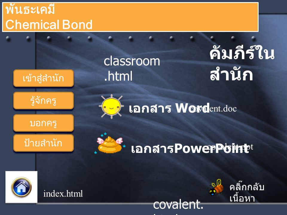 บอกครู รู้จักครู คลิ๊กกลับ เนื้อหา พันธะเคมี Chemical Bond ป้ายสำนัก เข้าสู่สำนัก index.html resource.h tml ท่องยุทธ จักร การเกิด โคเวเลนต์ รูปแบบ โคเวเลนต์ ชนิดโคเว เลนต์ ขั้วของ พันธะ covalent.