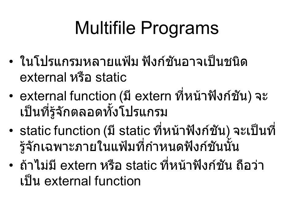 Multifile Programs ในโปรแกรมหลายแฟ้ม ฟังก์ชันอาจเป็นชนิด external หรือ static external function ( มี extern ที่หน้าฟังก์ชัน ) จะ เป็นที่รู้จักตลอดทั้งโปรแกรม static function ( มี static ที่หน้าฟังก์ชัน ) จะเป็นที่ รู้จักเฉพาะภายในแฟ้มที่กำหนดฟังก์ชันนั้น ถ้าไม่มี extern หรือ static ที่หน้าฟังก์ชัน ถือว่า เป็น external function