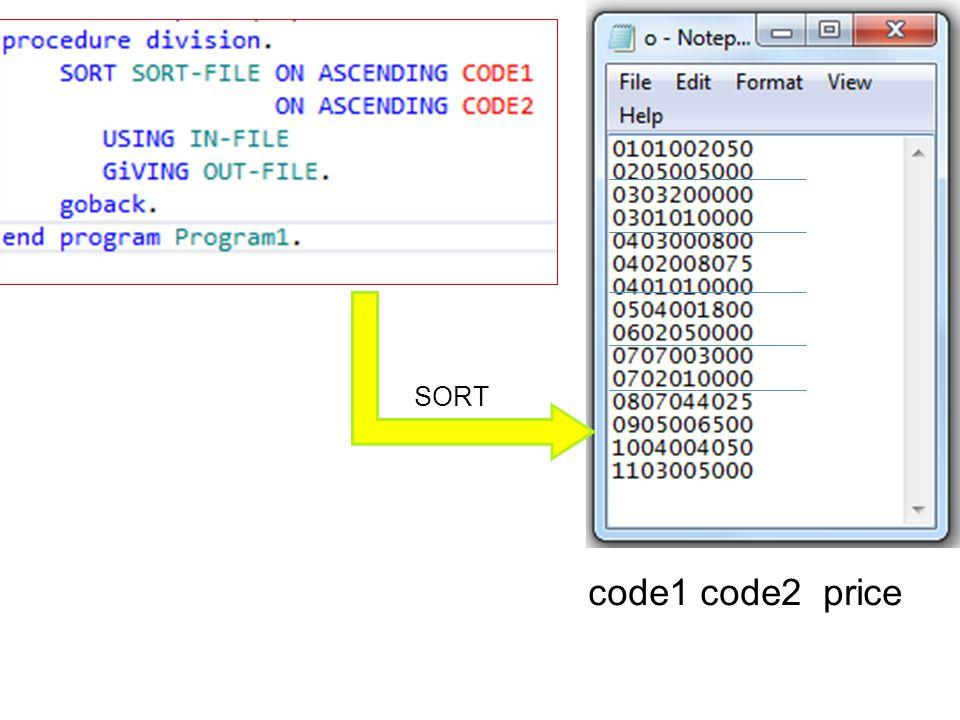 code1 code2 price SORT