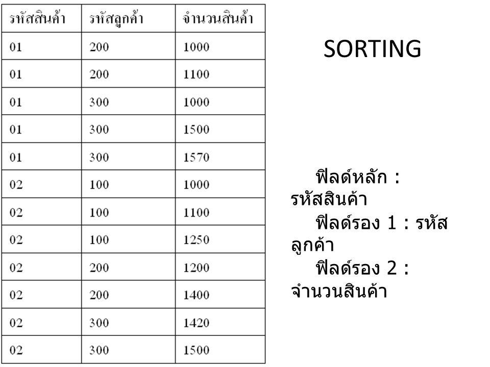 ฟิลด์หลัก : รหัสสินค้า ฟิลด์รอง 1 : รหัส ลูกค้า ฟิลด์รอง 2 : จำนวนสินค้า SORTING