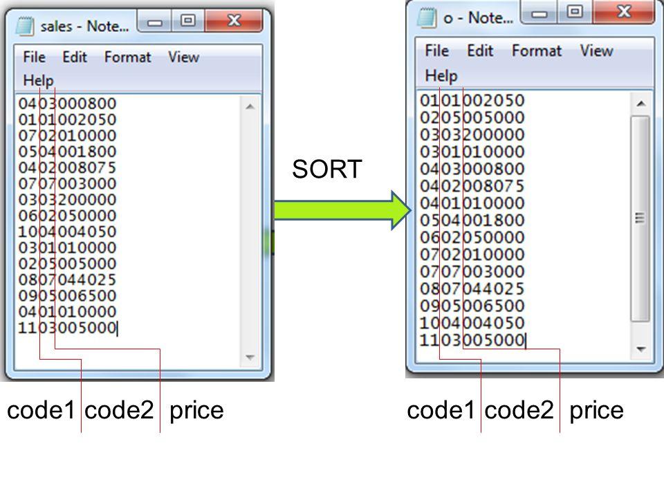 SORT code1 code2 price