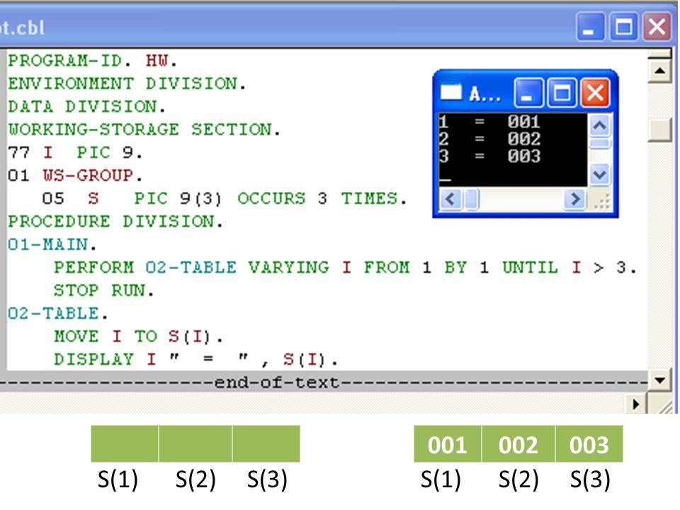 001002003 S(1) S(2) S(3)