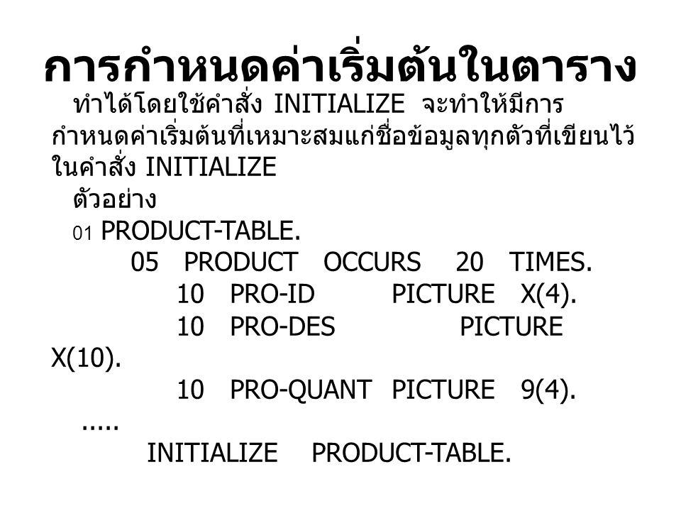การกำหนดค่าเริ่มต้นในตาราง ทำได้โดยใช้คำสั่ง INITIALIZE จะทำให้มีการ กำหนดค่าเริ่มต้นที่เหมาะสมแก่ชื่อข้อมูลทุกตัวที่เขียนไว้ ในคำสั่ง INITIALIZE ตัวอย่าง 01 PRODUCT-TABLE.