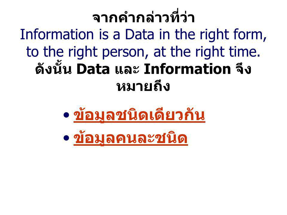 จากคำกล่าวที่ว่า Information is a Data in the right form, to the right person, at the right time. ดังนั้น Data และ Information จึง หมายถึง ข้อมูลชนิดเ