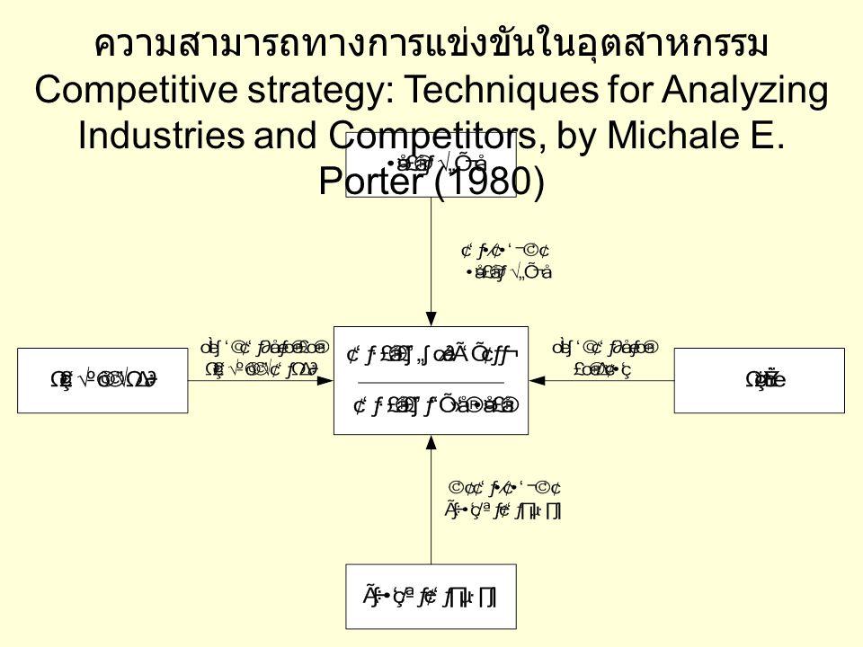 ความสามารถทางการแข่งขันในอุตสาหกรรม Competitive strategy: Techniques for Analyzing Industries and Competitors, by Michale E.