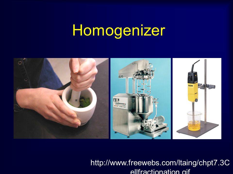 หลักการ คือ การทำให้เซลล์แตกเป็นชิ้นส่วน (Cell fractination) และเก็บชิ้นส่วน ของเซลล์มาศึกษา โดย 1. การทำให้เป็นเนื้อเดียวกัน (Homogenization) สามารถท