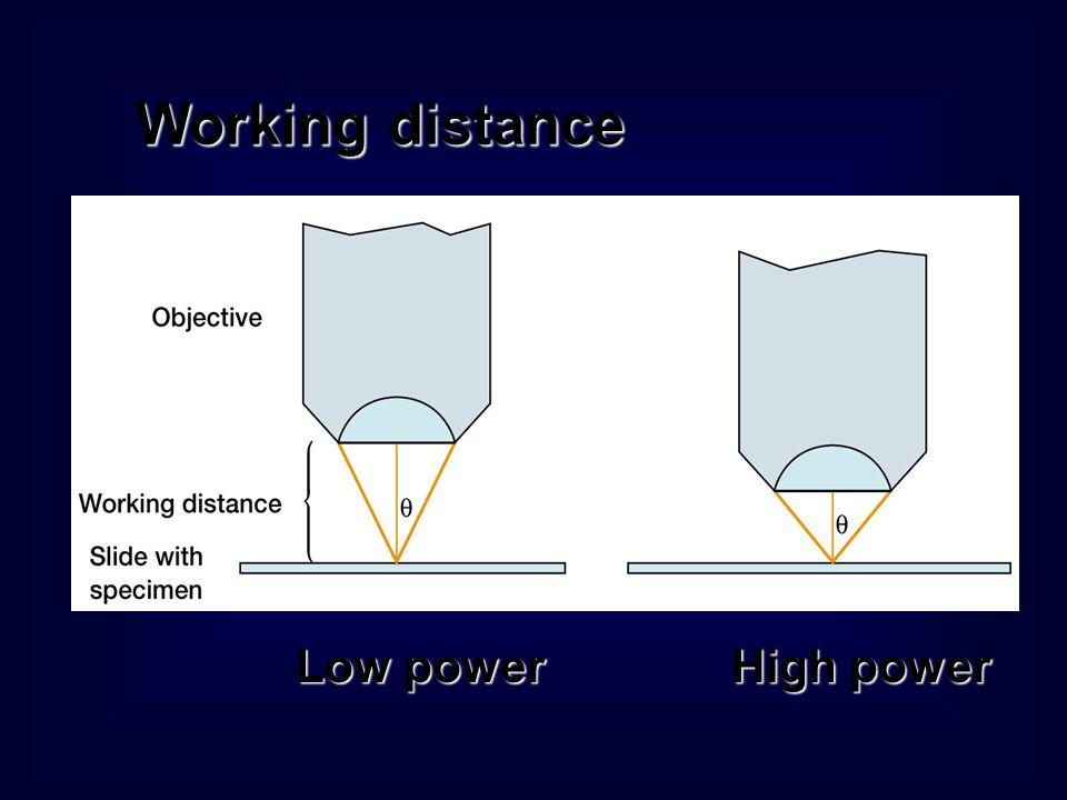 ความสามารถในการขยายภาพของ กล้องจุลทรรศน์ Resolution powerResolution power – ความสามารถของเลนส์ใกล้วัตถุในการแยกจุด สองจุดที่อยู่ใกล้กัน R = 0.6 x /NA Numerical apertureNumerical aperture – ความสามารถของเลนส์ใกล้วัตถุในการเก็บ รวบรวมแสงที่หักเหภายในวัตถุ NA = n sin 