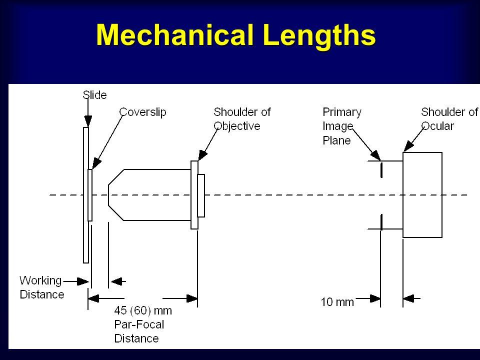 working distanceworking distance - ระยะระหว่างเลนส์ใกล้วัตถุ กับผิวของแผ่น กระจกปิด ตัวอย่าง หรือ ตัวอย่าง Objective lens Property Oil Immersion High