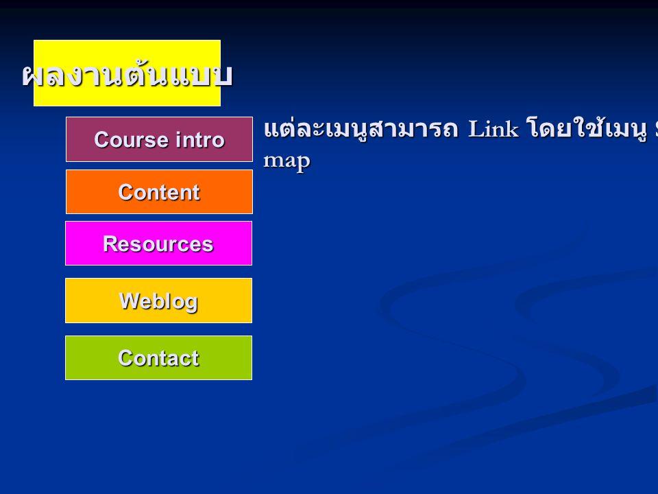 ผลงานต้นแบบ Course intro Content Resources Weblog Contact แต่ละเมนูสามารถ Link โดยใช้เมนู Site map