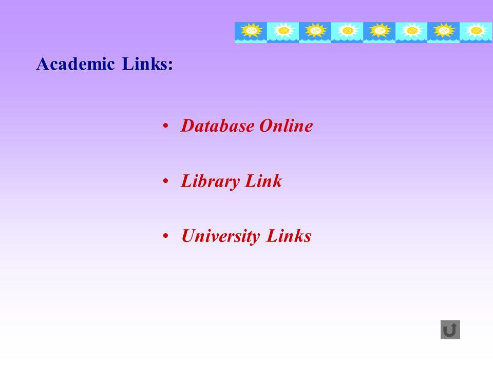 Database Online Library Link University Links Academic Links: