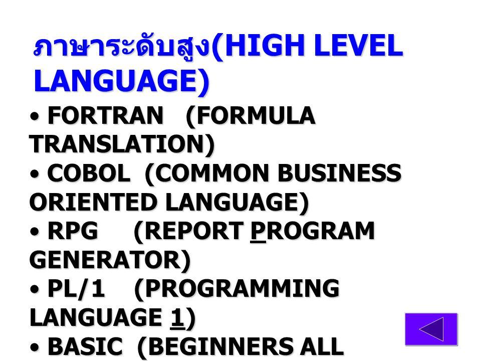ภาษาแนวมนุษย์ ภาษาแนวมนุษย์ ภาษาระดับต่ำ (LOW LEVEL LANGUAGE) ภาษาแอสเซมบลี (ASSEMBLY LANGUAGE) ภาษาแอสเซมบลี (ASSEMBLY LANGUAGE) A S, T หมายความว่า ให้ทำการ บวกข้อมูลที่ A กับข้อมูลที่ S เก็บผลลัพธ์ ไว้ที่ T