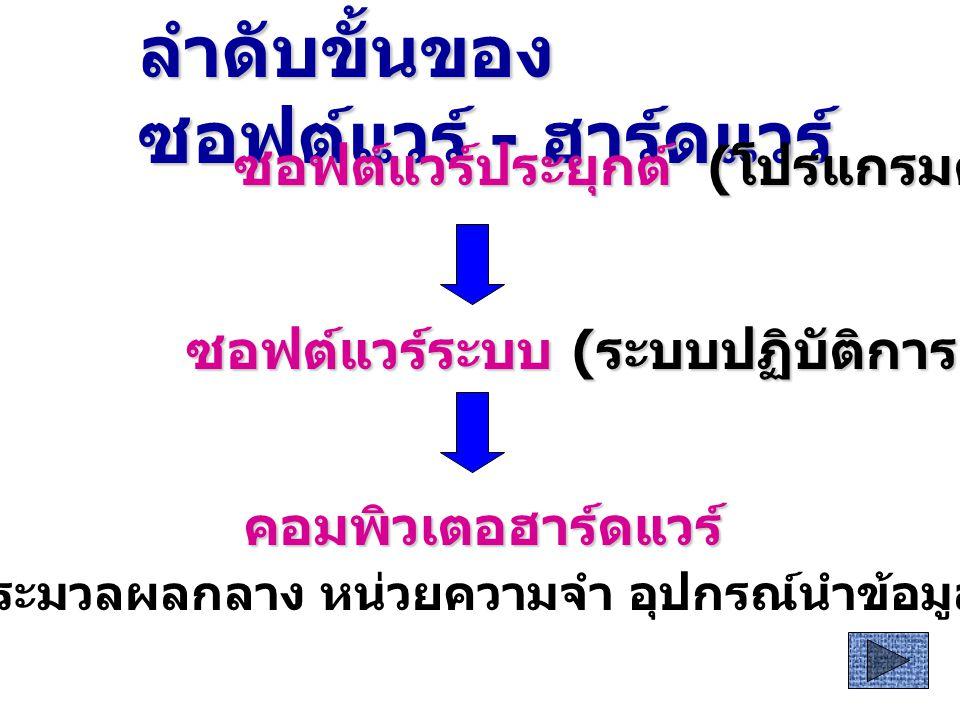 อัลกอริทึม การเขียนโปรแกรม ภาษาระดับสูง การแปล ภาษาเครื่อง ตีความโดยหน่วยประมวลผลกลาง ( ทำงานตามความต้องการ ) ( ทำงานตามความต้องการ )