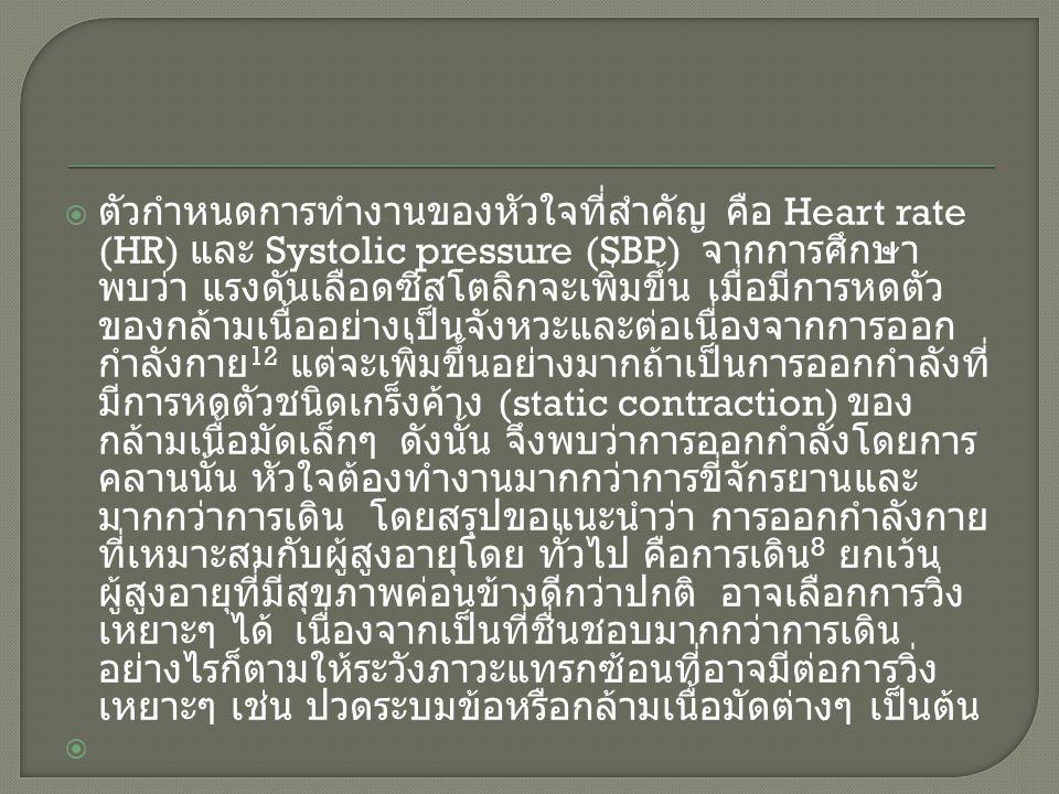  ตัวกำหนดการทำงานของหัวใจที่สำคัญ คือ Heart rate (HR) และ Systolic pressure (SBP) จากการศึกษา พบว่า แรงดันเลือดซีสโตลิกจะเพิ่มขึ้น เมื่อมีการหดตัว ขอ