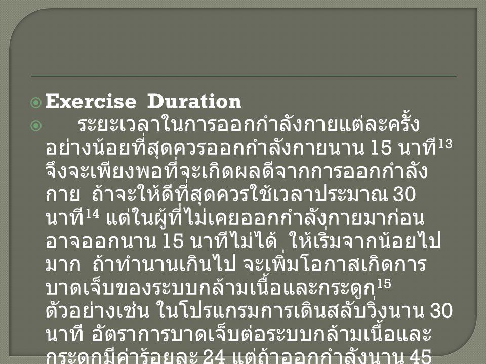  Exercise Duration  ระยะเวลาในการออกกำลังกายแต่ละครั้ง อย่างน้อยที่สุดควรออกกำลังกายนาน 15 นาที 13 จึงจะเพียงพอที่จะเกิดผลดีจากการออกกำลัง กาย ถ้าจะ