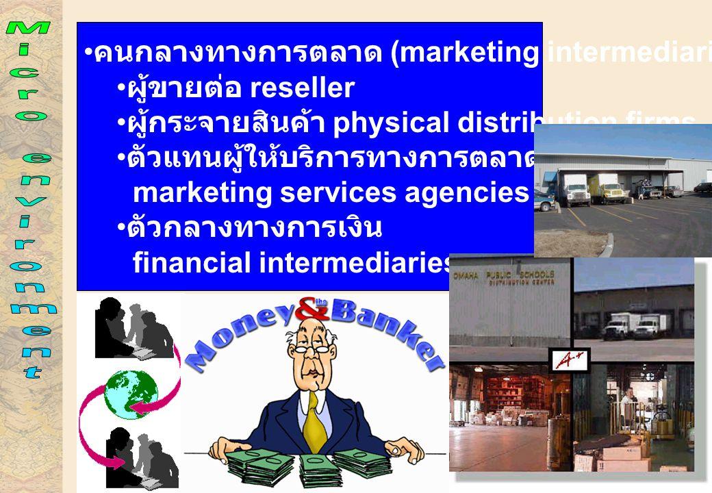 คนกลางทางการตลาด (marketing intermediaries) ผู้ขายต่อ reseller ผู้กระจายสินค้า physical distribution firms ตัวแทนผู้ให้บริการทางการตลาด marketing services agencies ตัวกลางทางการเงิน financial intermediaries
