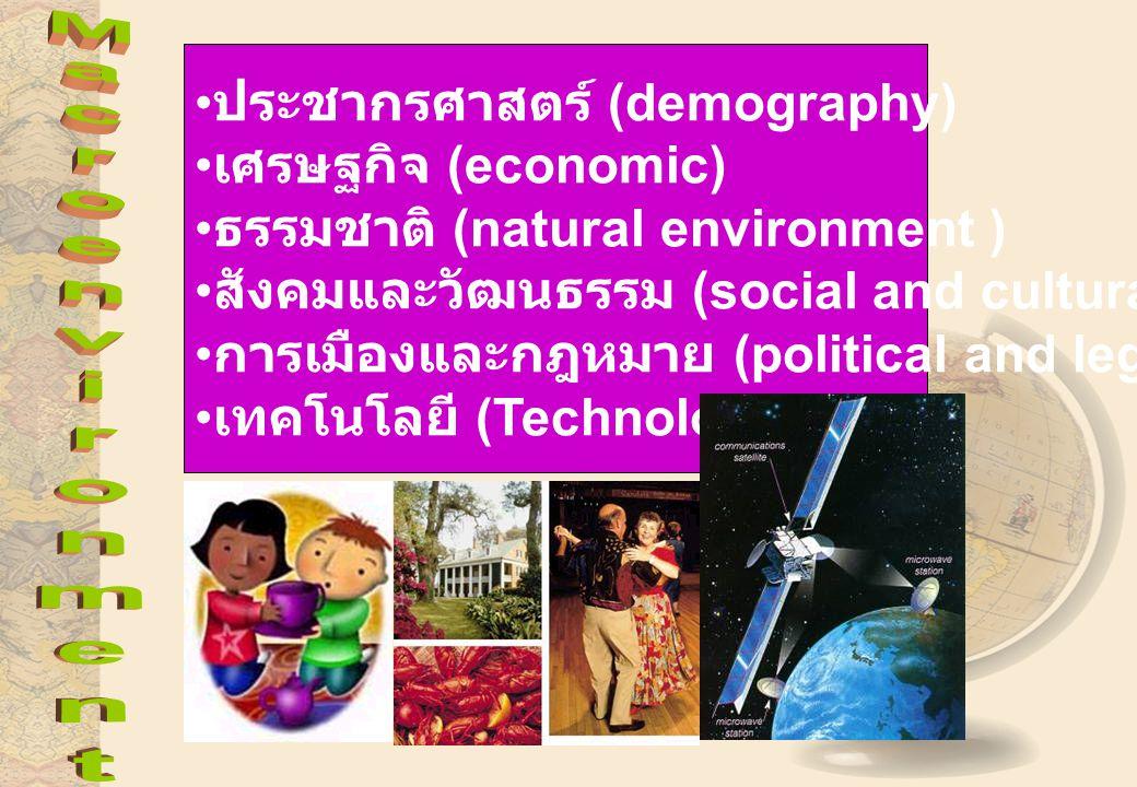 ประชากรศาสตร์ (demography) เศรษฐกิจ (economic) ธรรมชาติ (natural environment ) สังคมและวัฒนธรรม (social and cultural) การเมืองและกฎหมาย (political and legal) เทคโนโลยี (Technology)