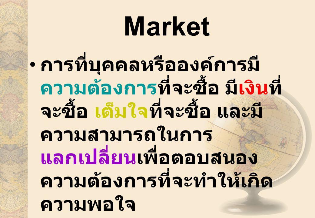 Market การที่บุคคลหรือองค์การมี ความต้องการที่จะซื้อ มีเงินที่ จะซื้อ เต็มใจที่จะซื้อ และมี ความสามารถในการ แลกเปลี่ยนเพื่อตอบสนอง ความต้องการที่จะทำให้เกิด ความพอใจ
