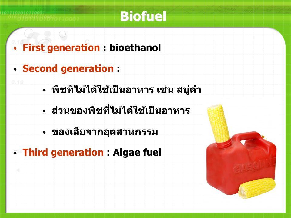 Biofuel First generation : bioethanol Second generation : พืชที่ไม่ได้ใช้เป็นอาหาร เช่น สบู่ดำ ส่วนของพืชที่ไม่ได้ใช้เป็นอาหาร ของเสียจากอุตสาหกรรม Th